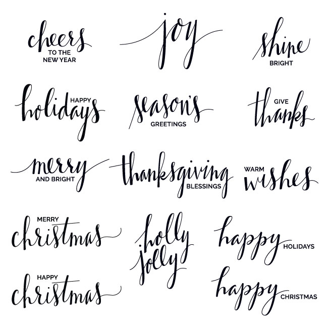 Hand Lettered Holiday Phrase Overlays + Clip Art.