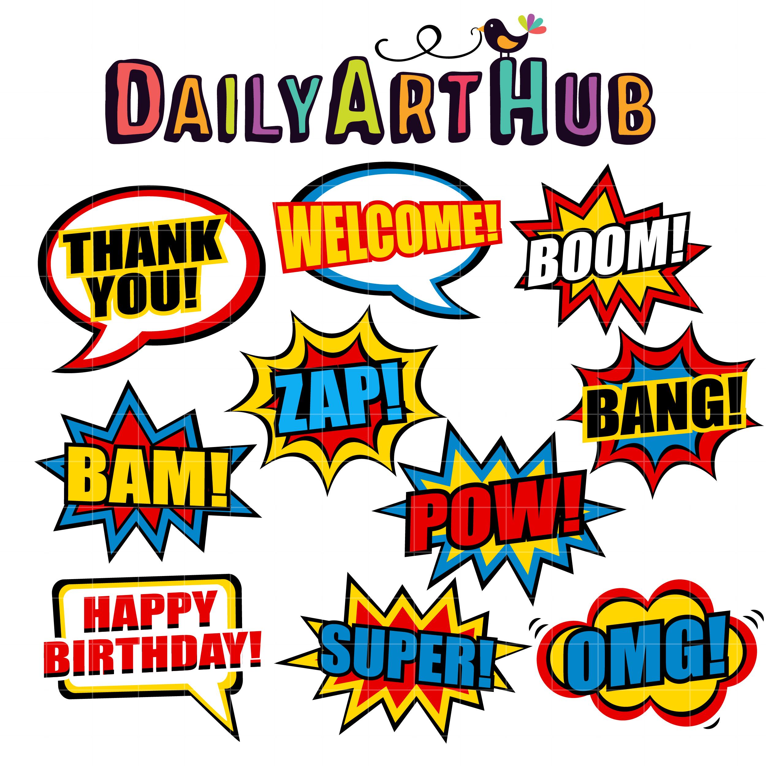 Pop Art Comic Phrases Clip Art Set.