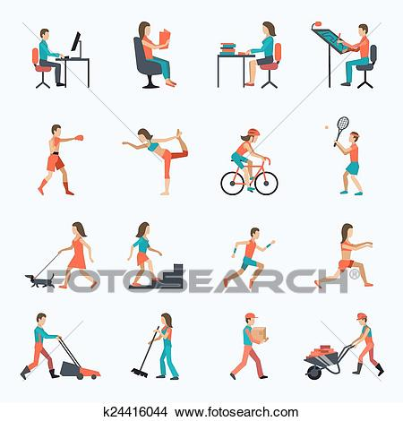 Physical Activity Icons Clipart.