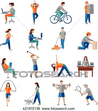 Physical activity icons Clip Art.