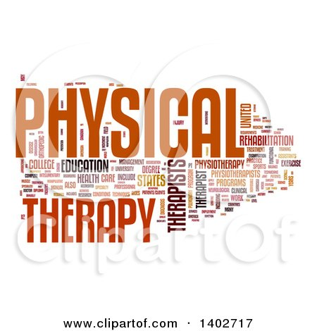 Clipart of a Physical Therapy Tag Word Collage on White.