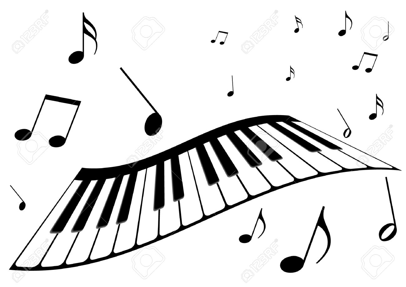 Illustration Of A Piano And Music Notes Royalty Free Cliparts.