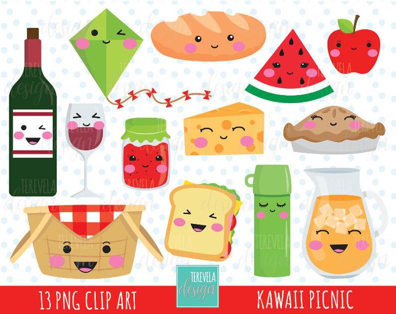 50% SALE kawaii PICNIC clipart, picnic party clipart, commercial use, cute  graphics, drinks clipart, food/fruits clipart, kawaii clipart.