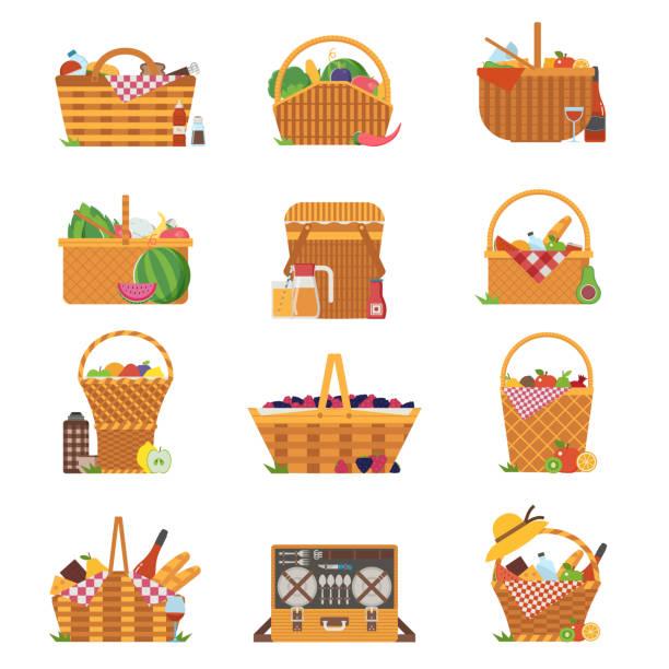 Best Picnic Basket Illustrations, Royalty.