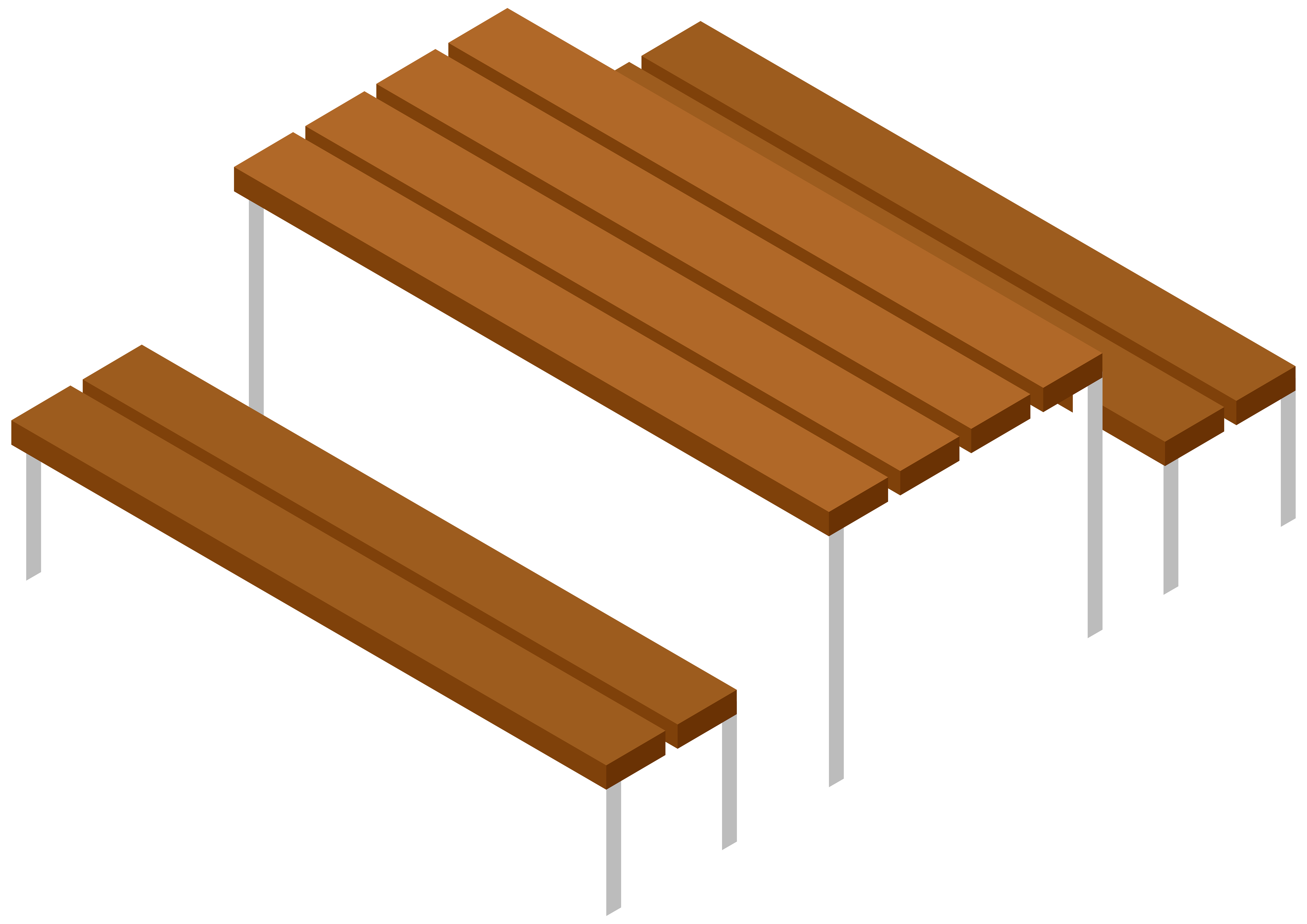 Picnic Table and Bench Transparent Clip Art Image.