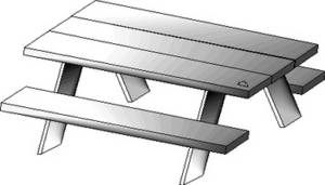 Free Clipart Picture of a Picnic Table.