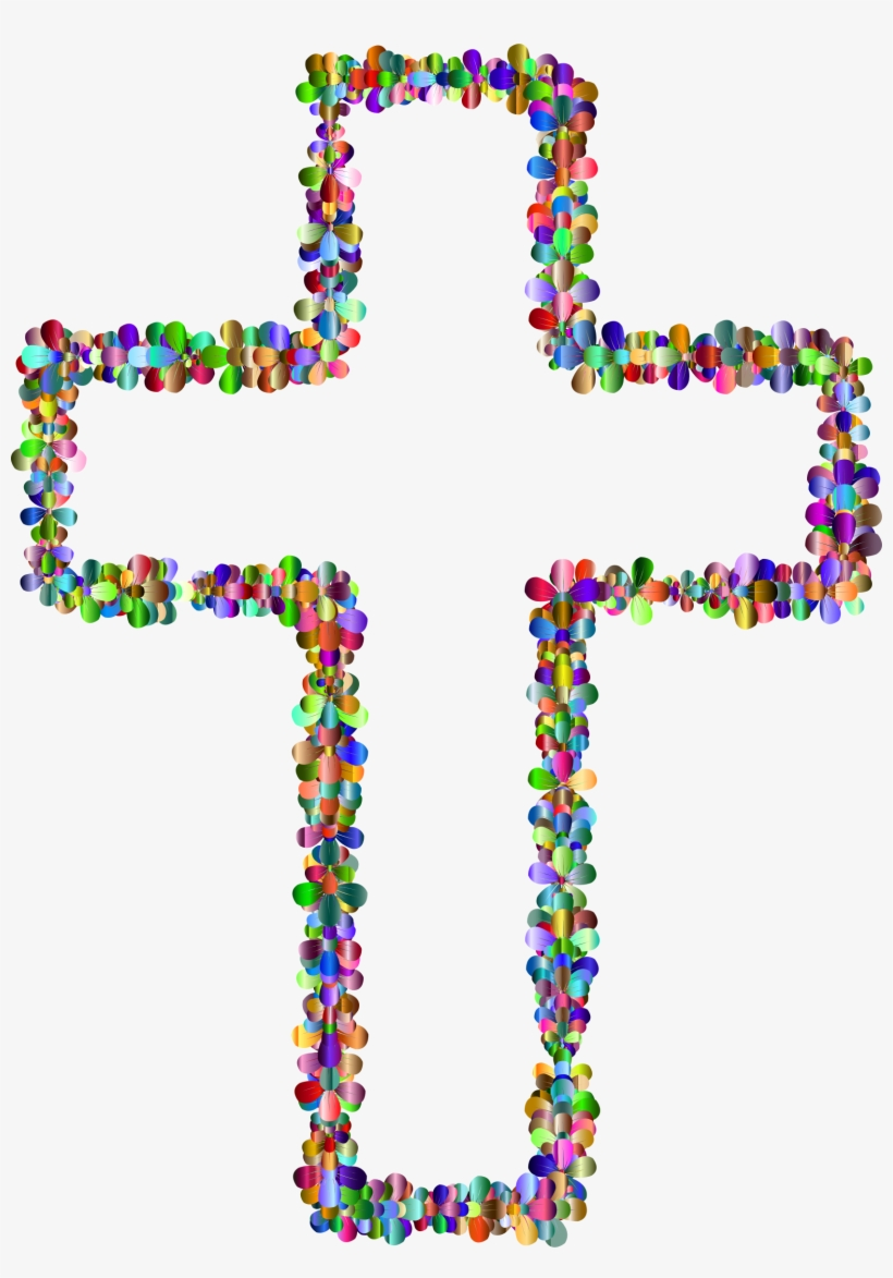 Svg Free Stock Cross With Flowers Clipart.
