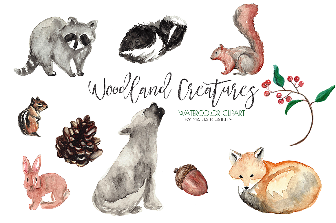 Watercolor Clip Art Forest Animals.