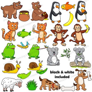 Clip Art Animals and their Food.