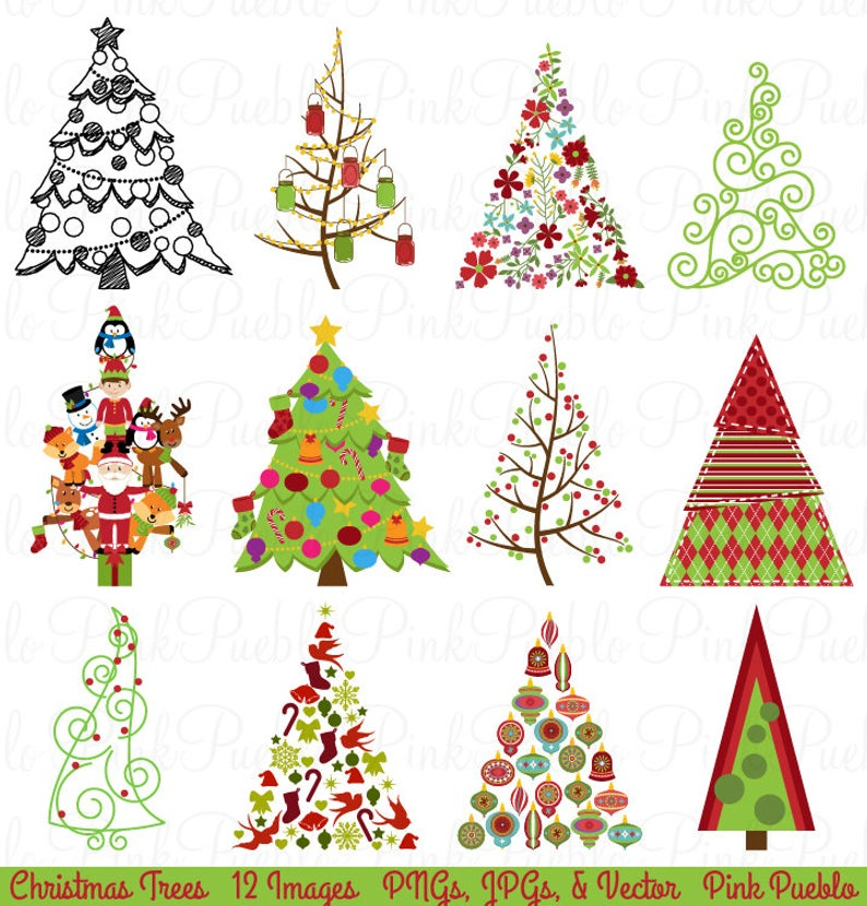 Christmas Tree Clipart Clip Art, Christmas Holiday Decor Clipart Clip Art  Vector.