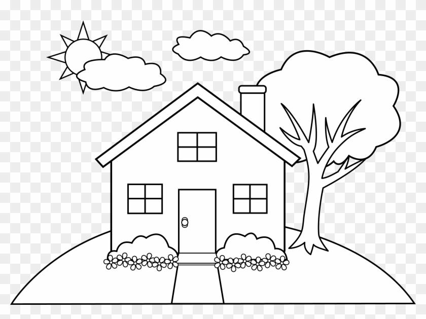 Line Art Of A Little Hill House Free Clip Art, Simple.