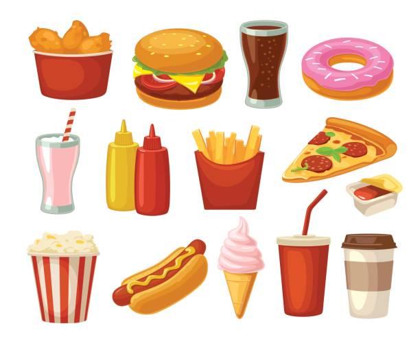 Best Junk Food Illustrations, Royalty.