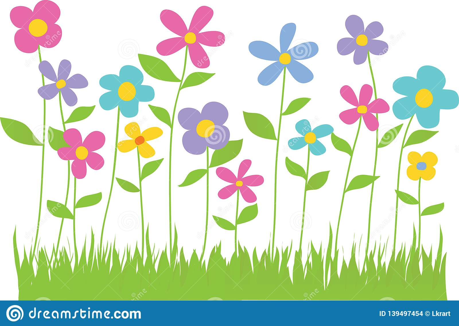 Spring Flowers With Grass Border Stock Illustration.