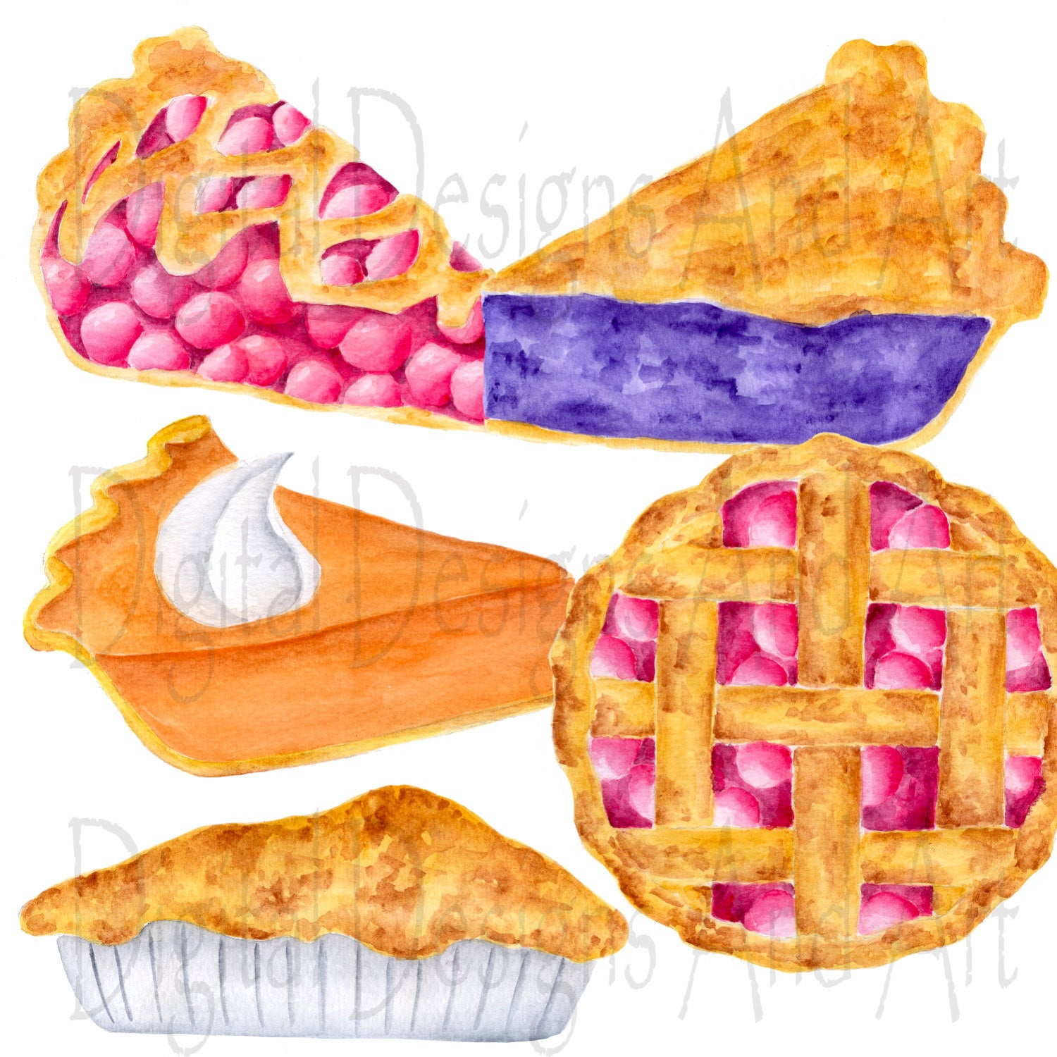 Watercolor pie clipart, Pies clipart, Watercolor clipart, Cherry pie  illustration, Food clipart, Watercolor food art, Food illustrations.
