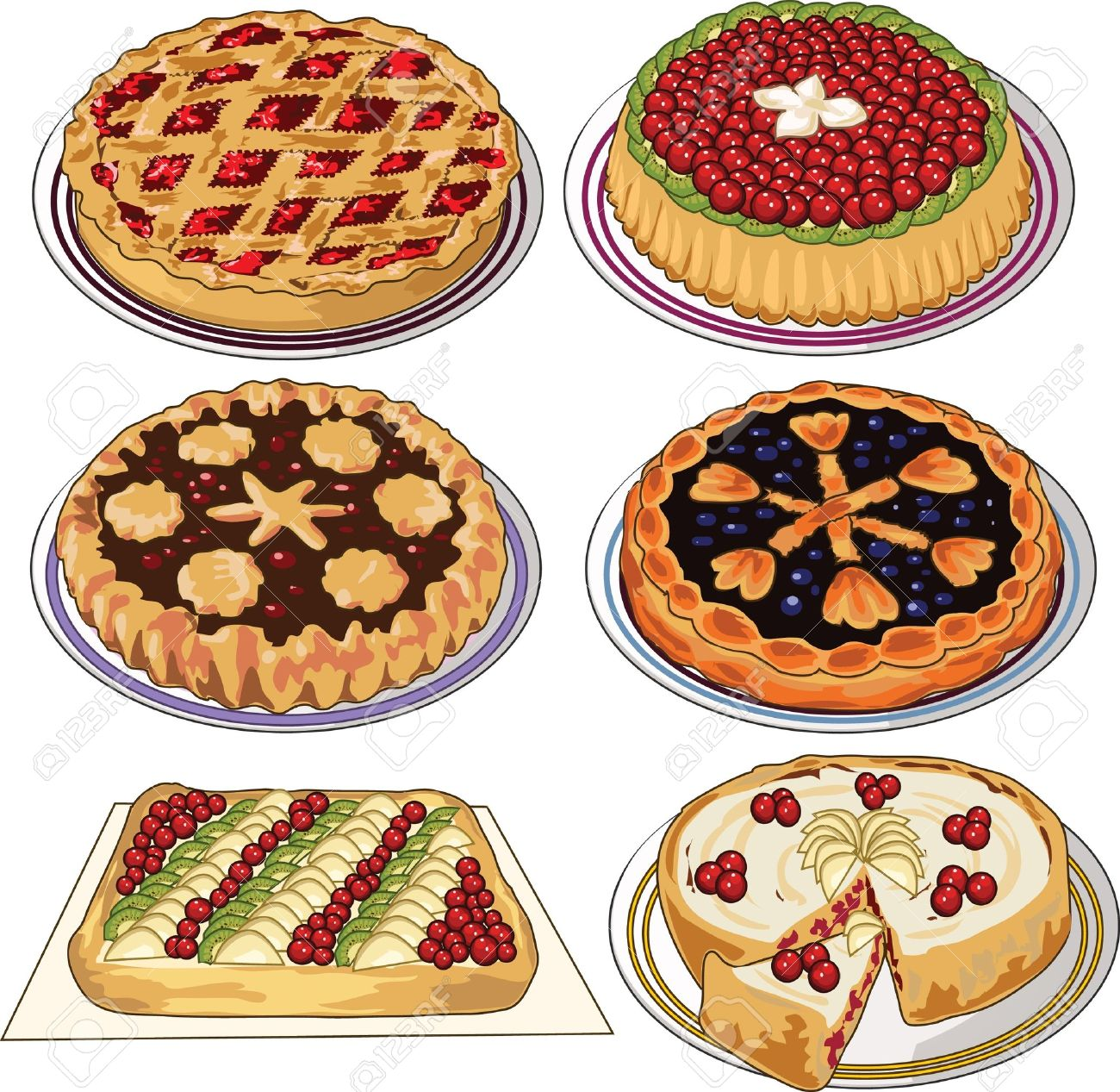 Clip art set of homemade pies.