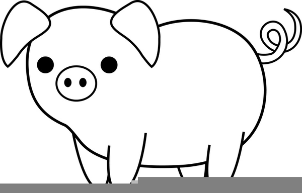 Free Black And White Pig Clipart.