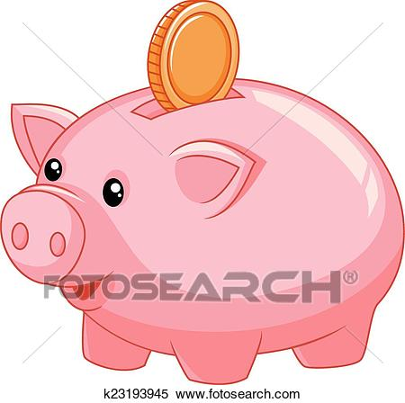 Piggy bank cartoon with coin Clipart.
