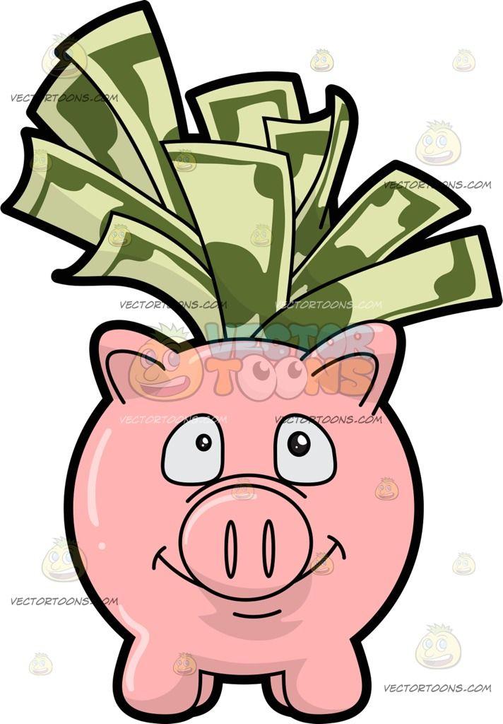 A Piggy Bank Filled With Dollar Bills: A pink piggy bank smiles and.