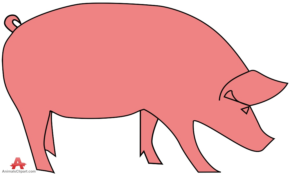 Pink pig simple clipart free design download.
