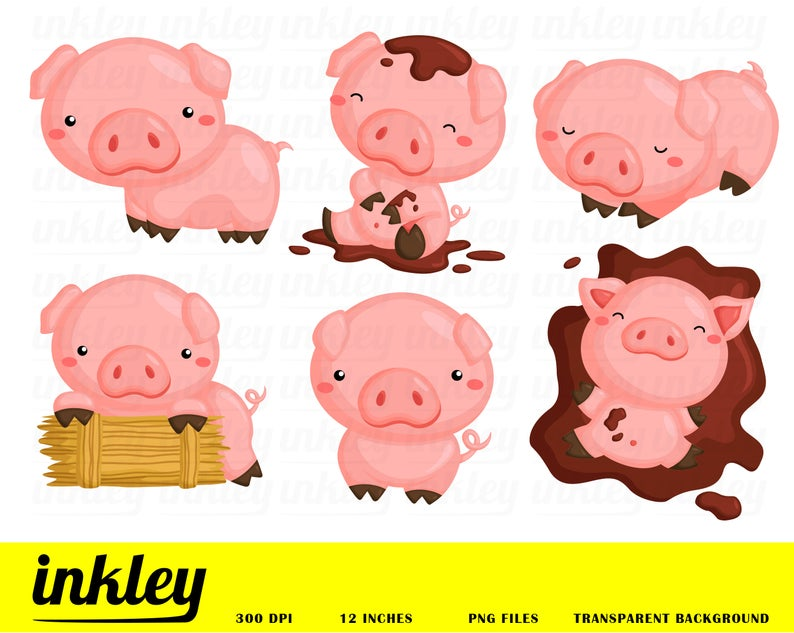 Pigs Clipart, Pigs Clip Art, Pigs Png, Cute Pig Clipart, Happy Pig Clipart,  Pig in the Mud Clipart, Farm Clipart, Pigs Playing, Pig, Hay.