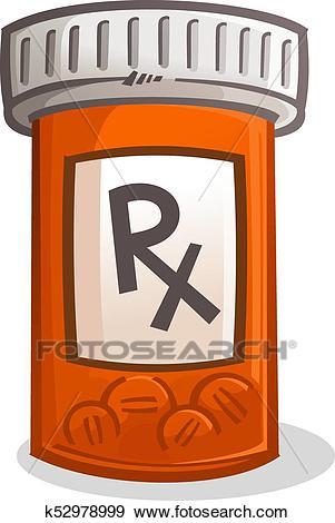 Pill Bottle Illustration Clip Art.
