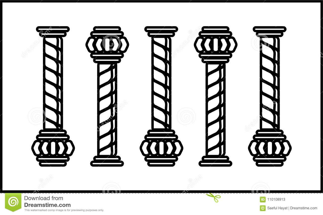 Five pillar clipart stock vector. Illustration of arcitecture.