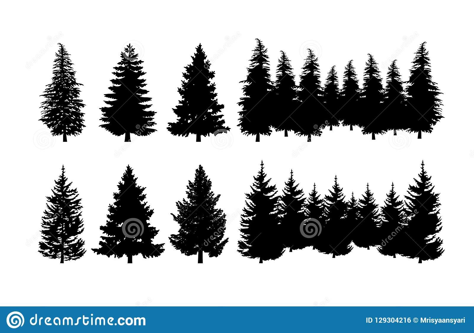 Pine Tree Clip art Set stock vector. Illustration of tree.
