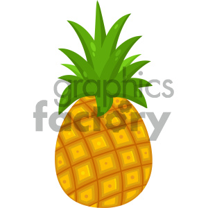 Royalty Free RF Clipart Illustration Pineapple Fruit With Green Leafs  Drawing Flat Simple Design Vector Illustration Isolated On White Background.