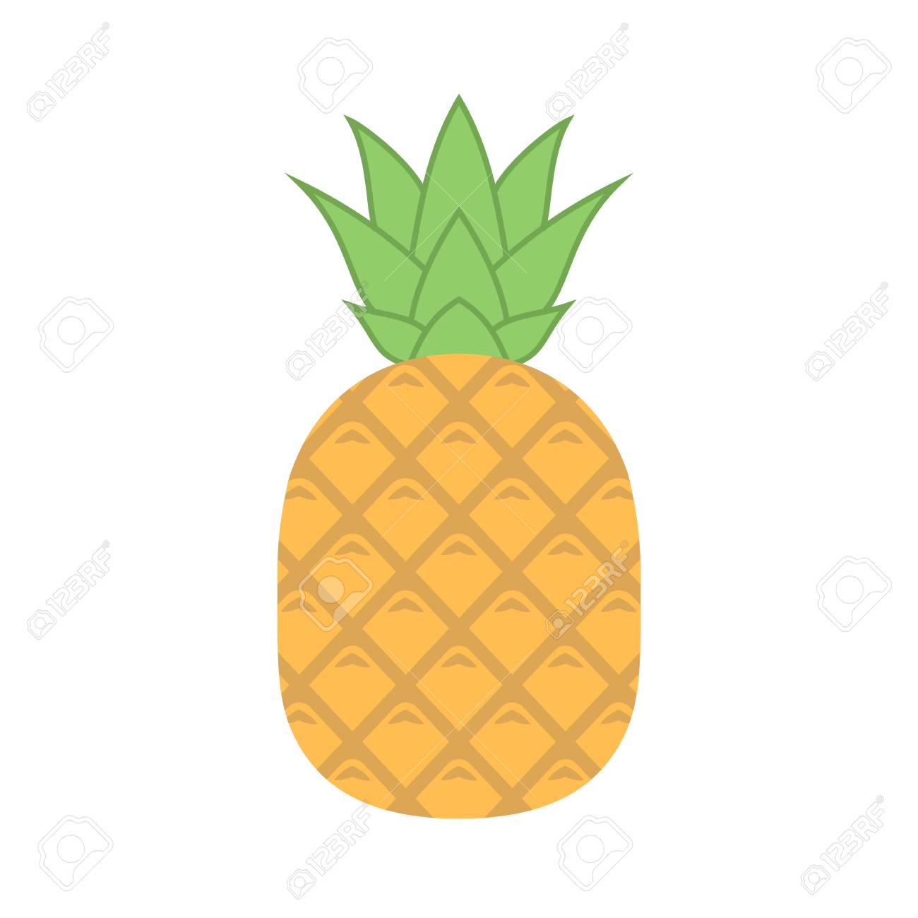 Pineapple with leaves vector icon. Pineapple icon clipart. Pineapple...