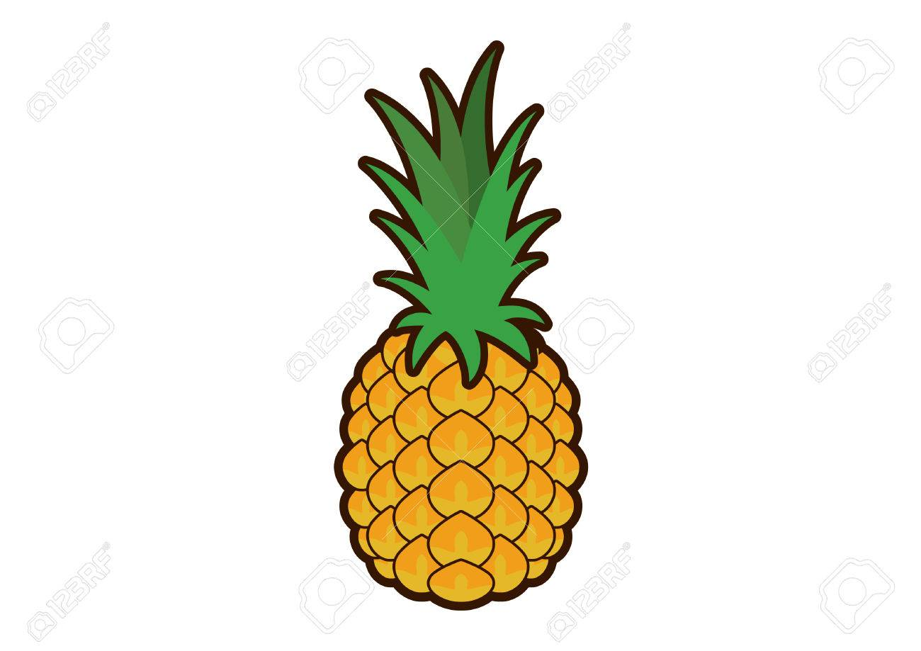 Pineapple vector. Pineapple clip art. Pineapple icon on a white...