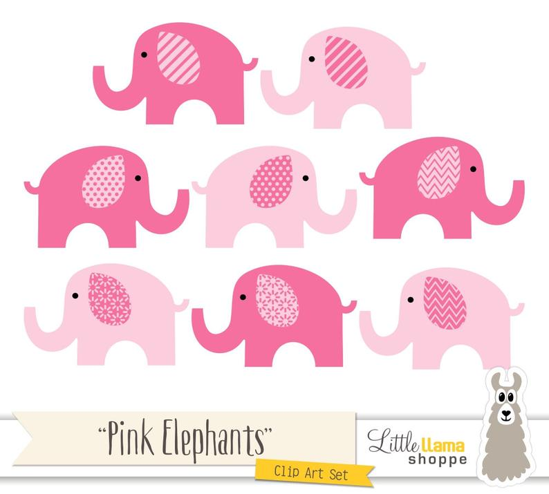 Pink Elephant Clipart, Pink Nursery Decor, Pink Elephants Graphics, Pink  Elephant Illustrations, Commercial Use, Instant Download.