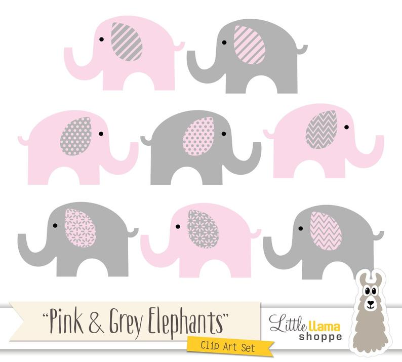 Pink and Grey Elephants Clipart, Pink & Gray Nursery Decor, Elephant  Graphics, Pink Elephant Illustrations, Commercial Use.