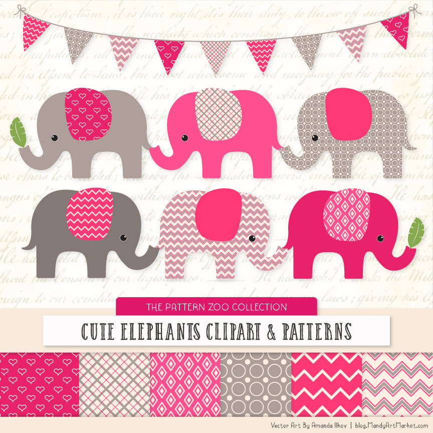 Hot Pink Patterned Elephant Clipart & Patterns.