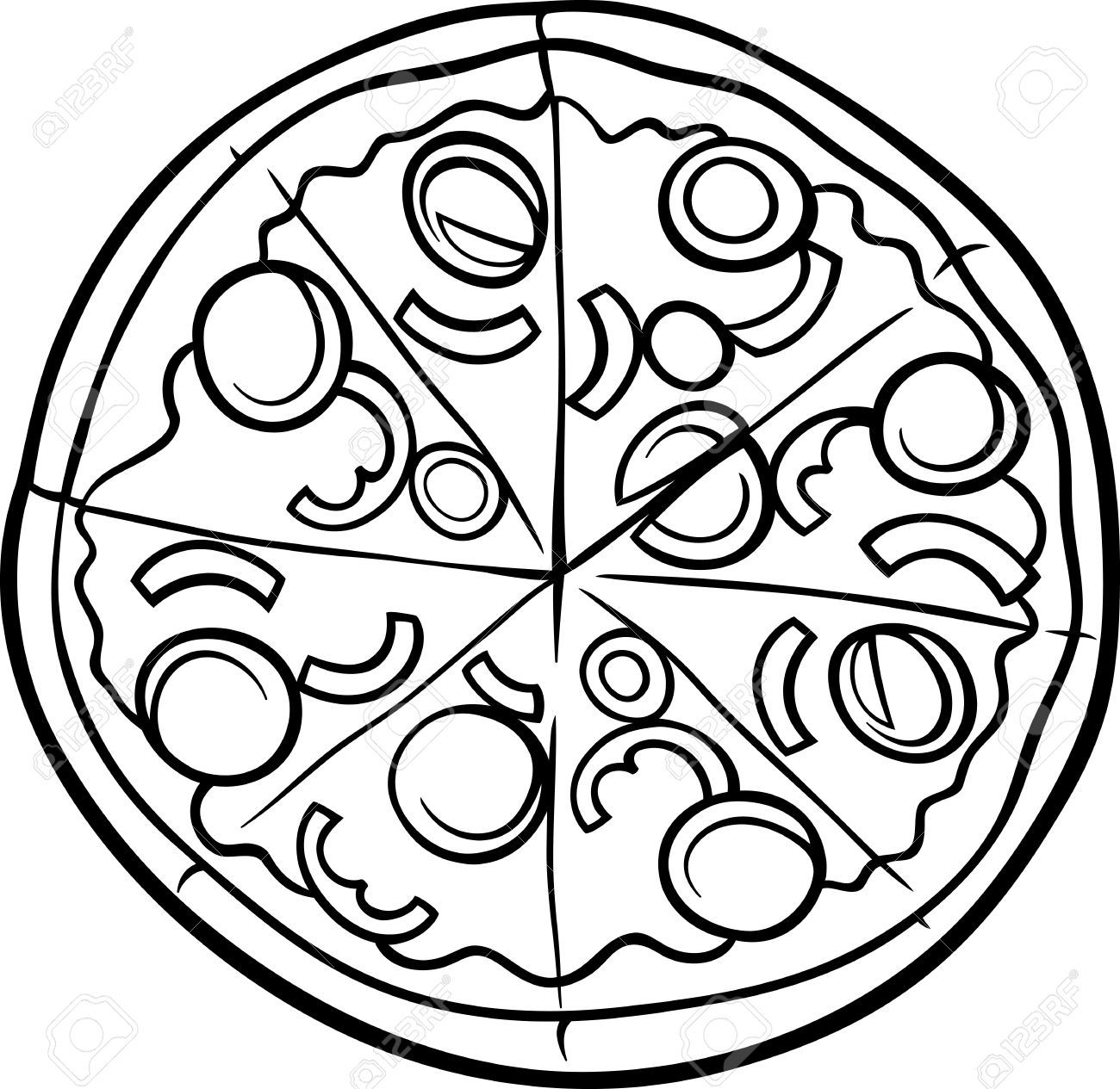 Free Clip art of Pizza Clipart Black and White #453 Best Square.
