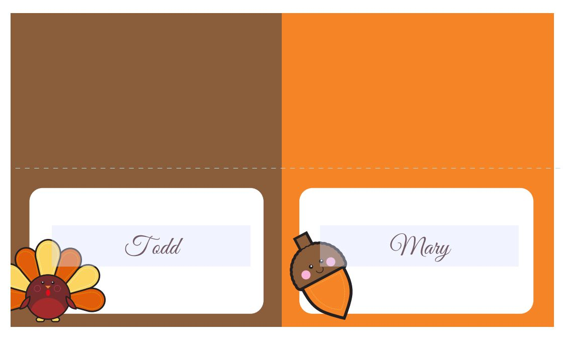 13 Sets of Free, Printable Thanksgiving Place Cards.