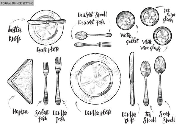 Best Place Setting Illustrations, Royalty.