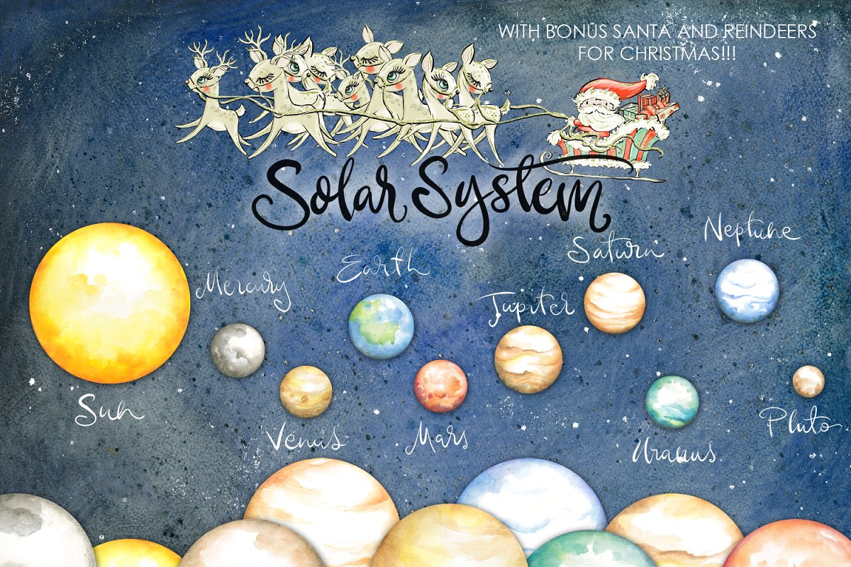 Planets Clipart Watercolor.