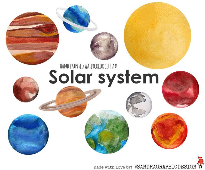 Solar system clip art, planets clip art, watercolor clip art, boys clip  art, hand painted watercolor clipart (5236).