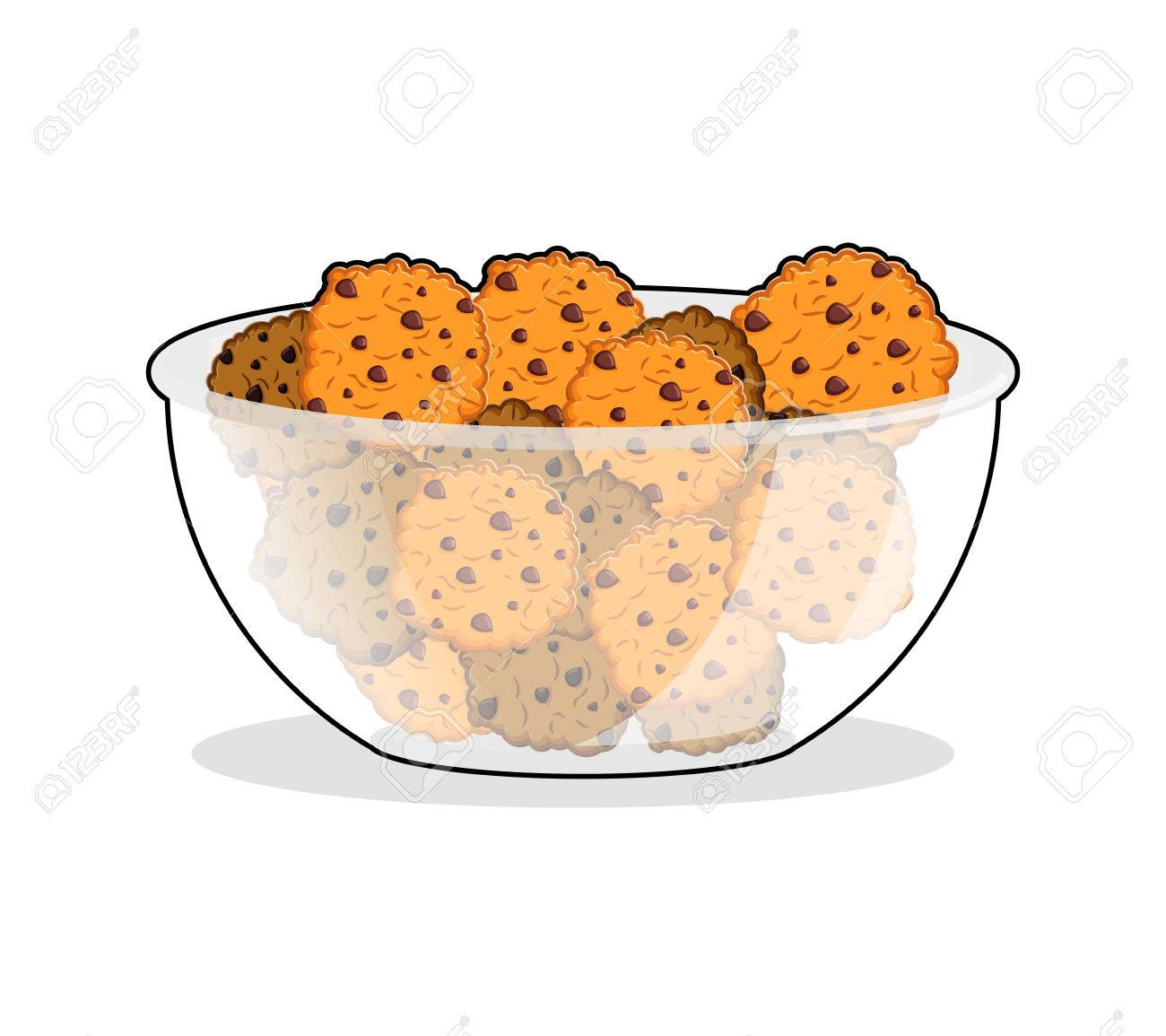 Cookies in bowl. biscuit in deep transparent plate. Oatmeal cookie...