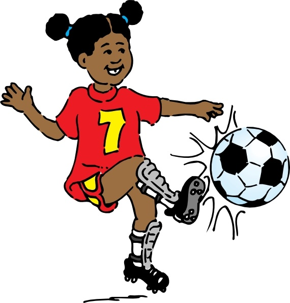 Girl Playing Soccer clip art Free vector in Open office drawing svg.