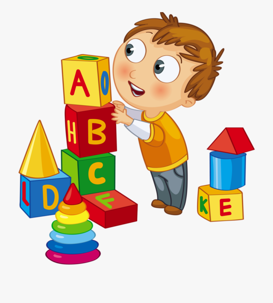 Kids Playing Children Playing Blocks Clip Art.
