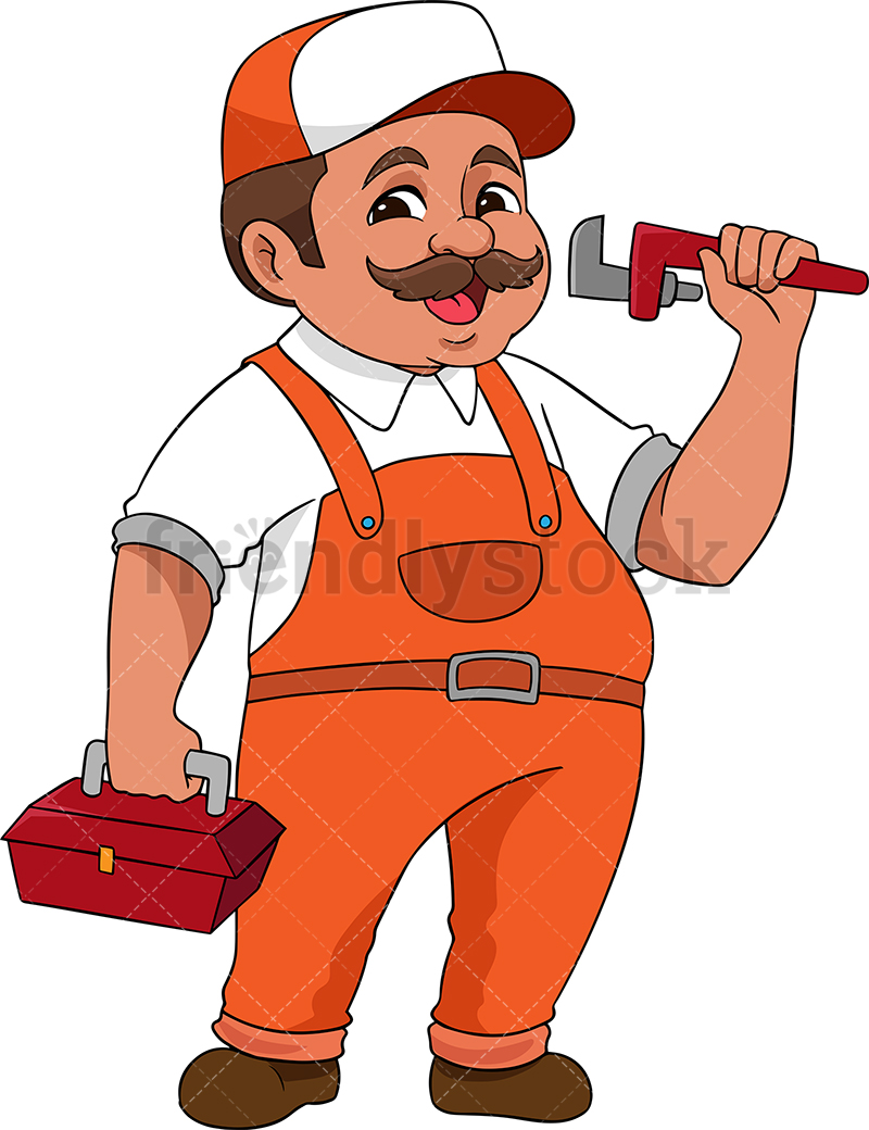 Plumber Holding Wrench And Toolbox.