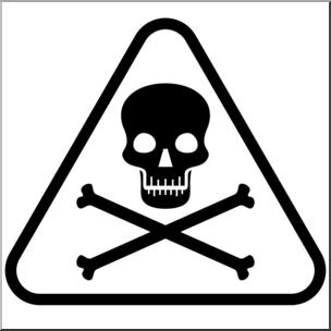 Clip Art: Poison Symbol 2 B&W I abcteach.com.