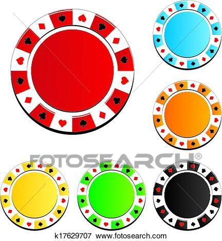 Poker chip sets Clip Art.