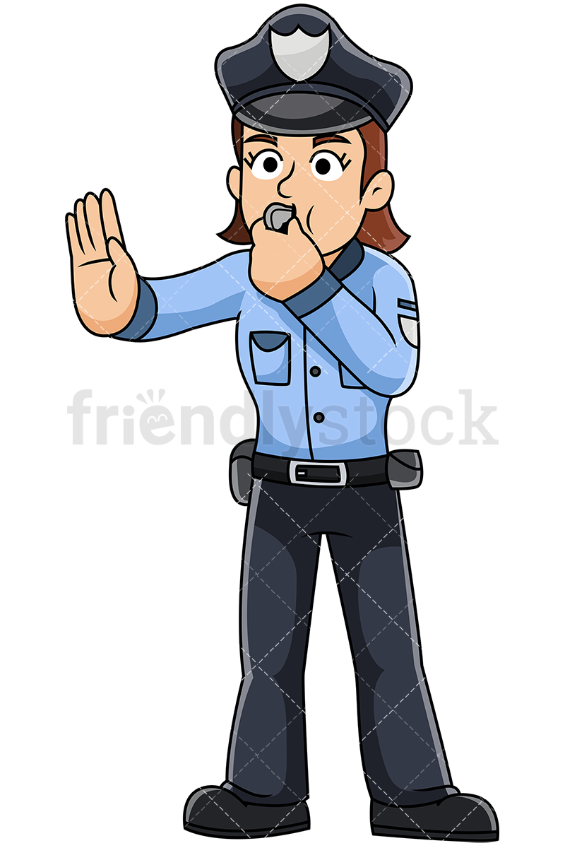 Female Police Officer Blowing Whistle Vector Cartoon Clipart.