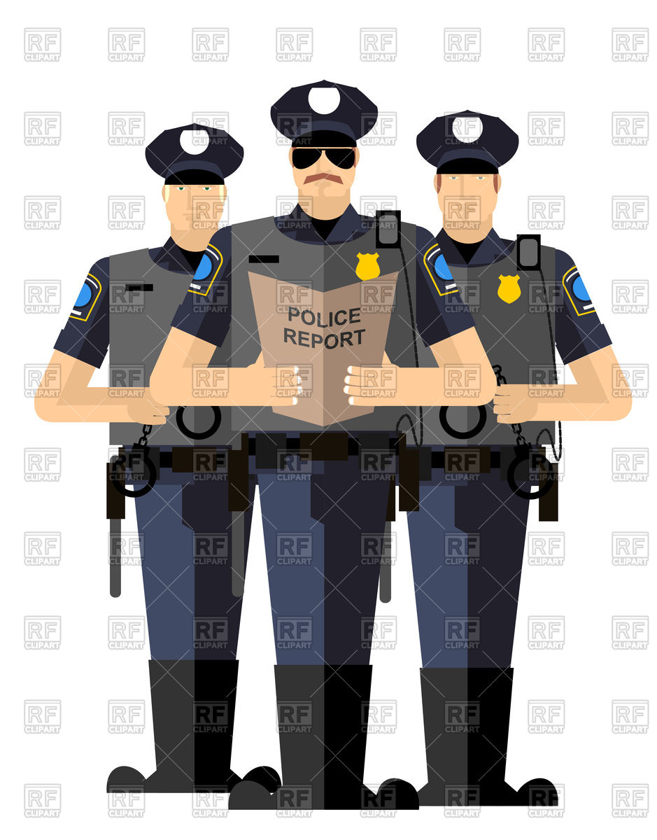Police officers with police report Vector Image of People.