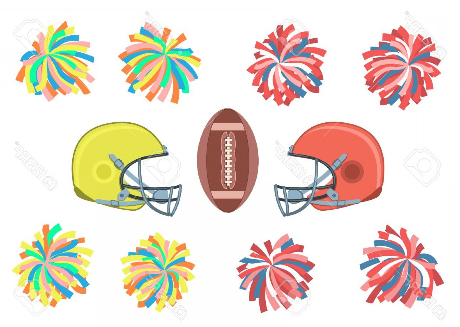 Photostock Vector Set Of Multicolored Pom Poms Helmets And Ball.