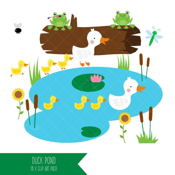 Duck Pond Clipart / Mother Duck and Ducklings Clip by ClipArtisan.