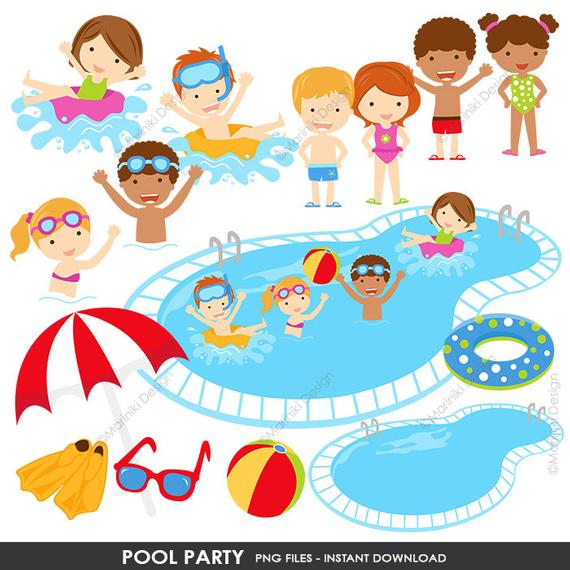 Pool Party Clipart, Summer Clipart, Pool Clip Art, Beach Clipart, Swimming  Graphics for Invitations Scrapbook INSTANT DOWNLOAD CLIPARTS C97.
