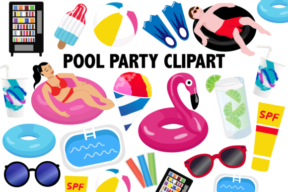 Pool Party Clipart.